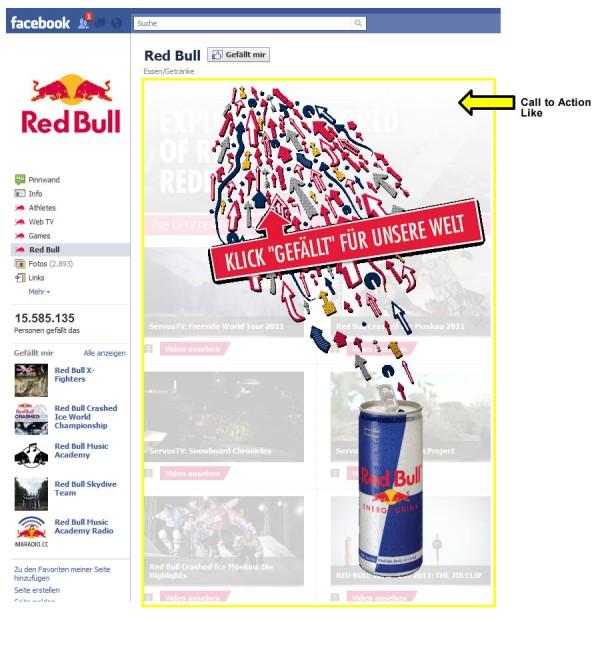 Landingpage der Facebookseite von Red Bull