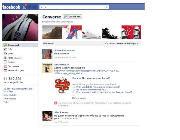 Die Facebookseite von Converse verzichtet auf eine Landingpage
