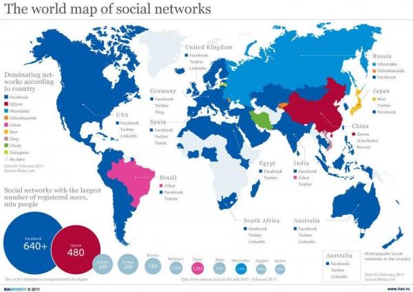 Social media weltkarte der sozialen netzwerke