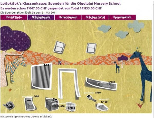 Loitokitok's Klassenkasse: Utensilien für den Bau des Schulhauses