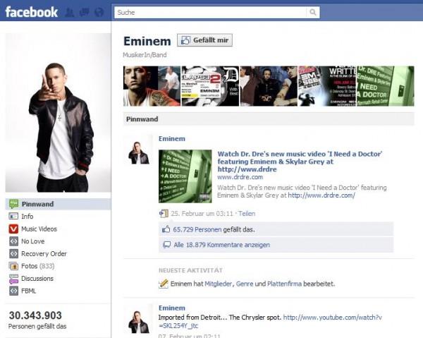 Facebookseite von Eminem