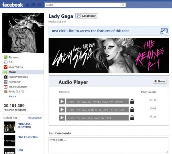 Facebookseite von Lady Gaga