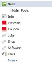 Menü einer Facebookseite mit deaktivierter HTTPS-Verbindung