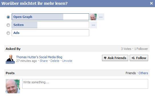Darstellung einer Frage mit Verlinkung auf die fragende Facebookseite