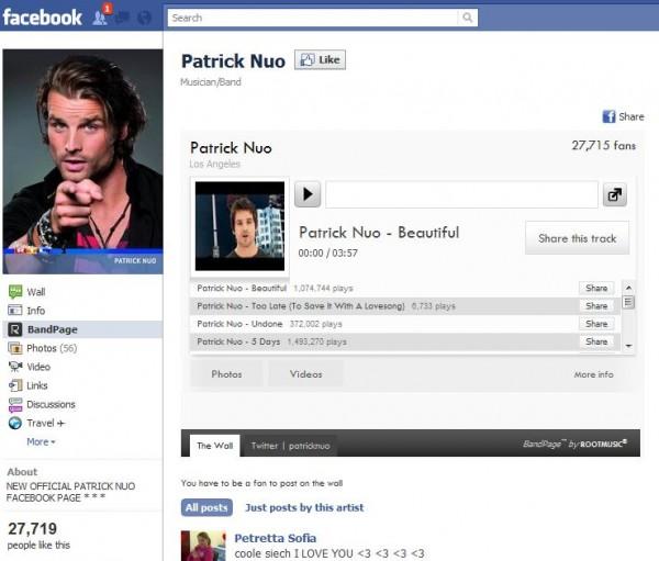 Facebookseite von Patrick Nuo