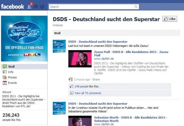 DSDS Facebookseite von RTL