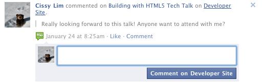 Kommentarfeedback auf der Facebookseite
