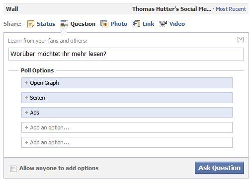 Umfragen auf Facebookseiten erstellen