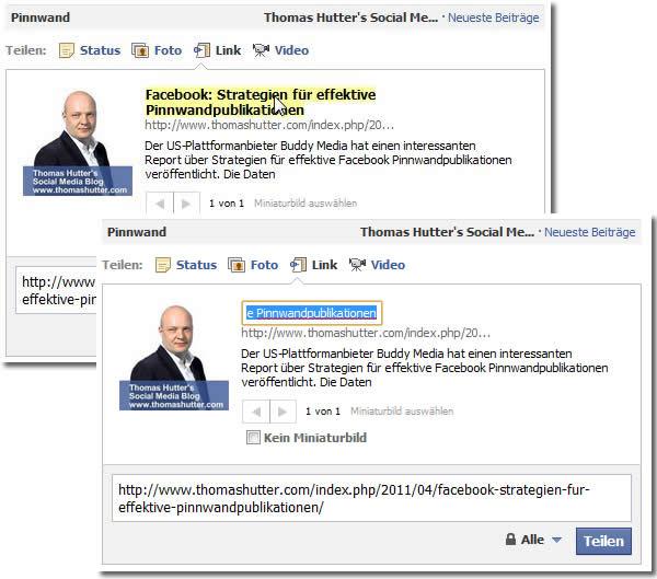 Individualisierung des Linktitels in der Statusmeldung