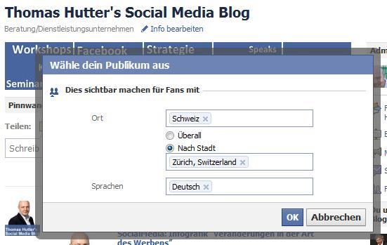 Verfeinerung der Zielgruppenauswahl bei Statusmeldungen auf Facebookseiten