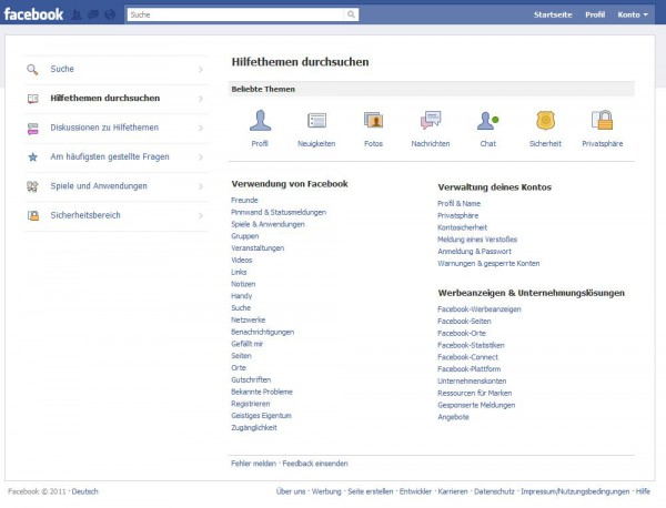Der neue Hilfebereich von Facebook