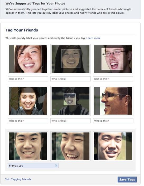 Neue automatische Gesichtserkennung auf Facebook (Quelle: Facebook)