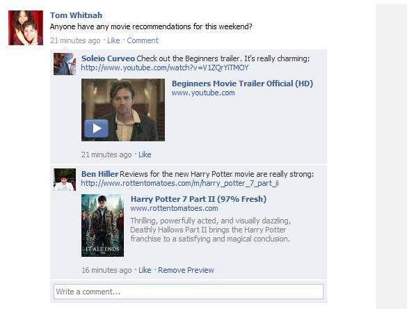 Beispiel von Kommentaren mit URL/Video-Vorschau