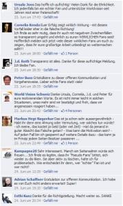 Reaktionen der Community auf FB-Eintrag