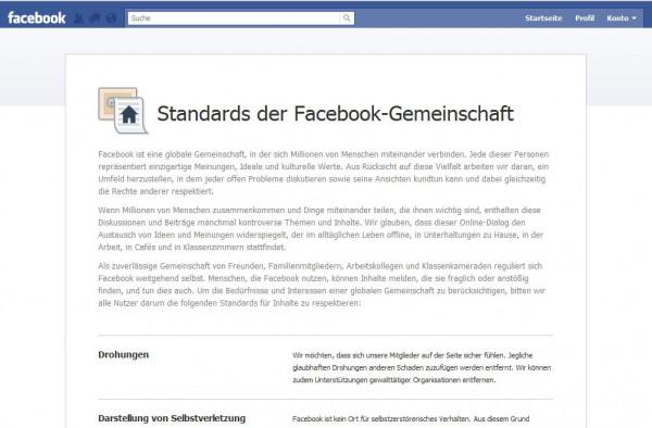 Community-Standards der Facebookgemeinschaft