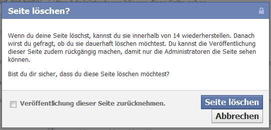 """Dialogbox """"Seite löschen"""""""