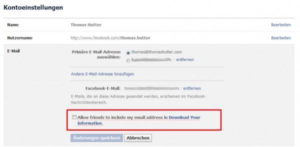 """Opt-In Funktion in den Kontoeinstellungen """"E-Mail"""" auf Facebook"""