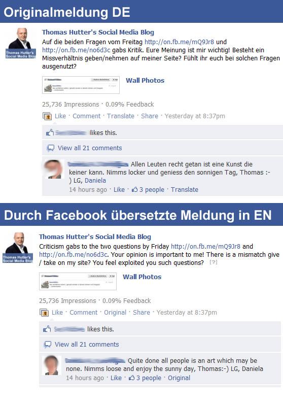 Durch Facebook übersetzte Statusmeldungen auf Facebookseiten