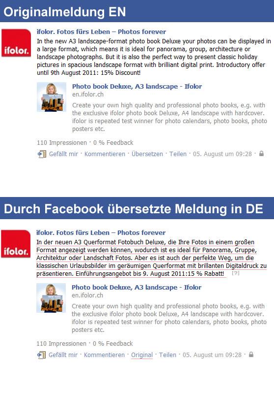 Beispiel einer von Facebook automatisch übersetzen Statusmeldung auf einer Facebookseite