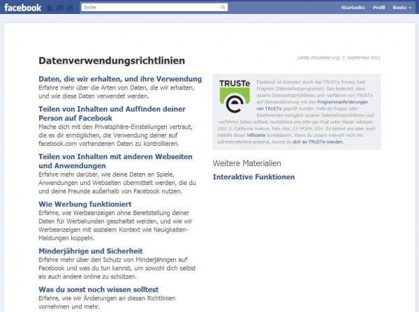 Datenverwendungsrichtlinien auf Facebook.com