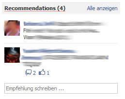 Erhaltene Empfehlungen für Facebookorte