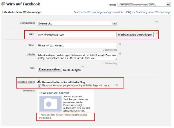 Facebook Ads (externe URL's) mit sozialem Kontext wählbar