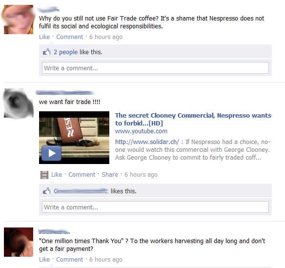 Kommentare auf der Nespresso Facebookseite