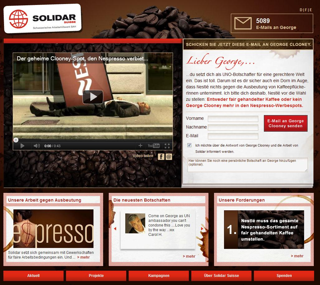 Solidar.ch Website mit Clooney Video und E-Mail-Aktion
