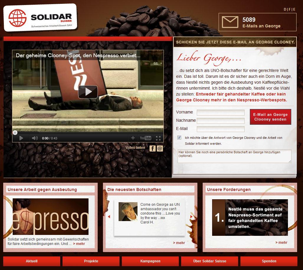 Solidar.ch Website mit Clooney Video und E-Mail-Aktion