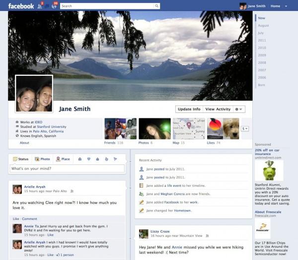 Vorschau auf das neue Facebookprofil (Timeline)