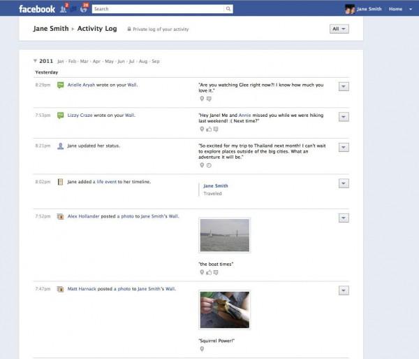 Activity Log im Facebookprofil