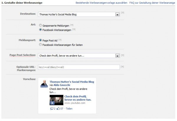 Page Post Ads im AdManager