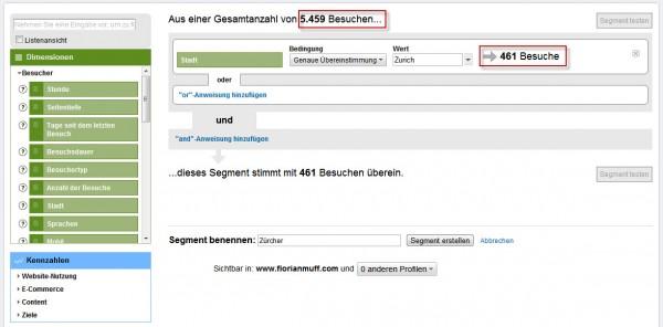 Google Analytics: Benutzerdefiniertes Segment testen