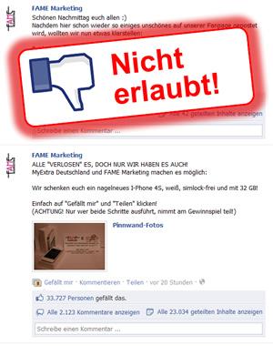 Beispiel eines unerlaubten Gewinnspiels auf Facebook einer Agentur