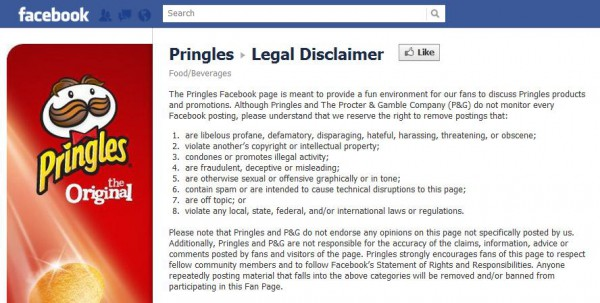 Legal Disclaimer von Pringles