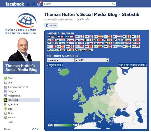 Facebook Applikation mit den aktuellen Statistikdaten der europäischen Länder