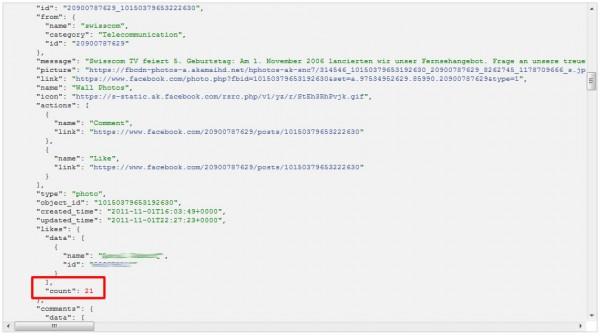 Ansicht des Postings im Graph API Explorer