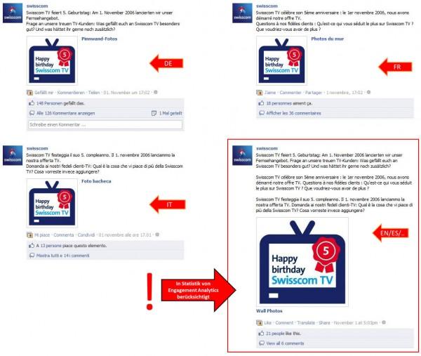 Beispiel sprachabhängige Postings bei der Swisscom Facebookseite