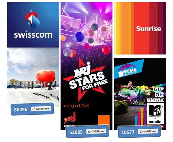 Die Schweizer Telco-Unternehmen auf Facebook im Vergleich