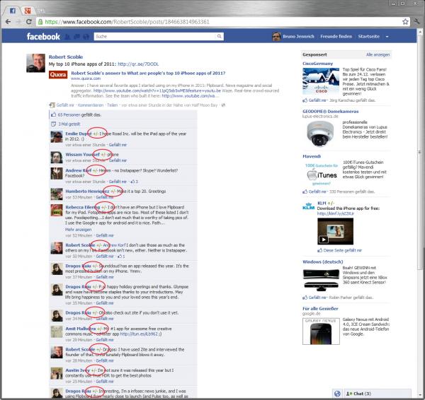 Die Klassifikationslemente in Facebook