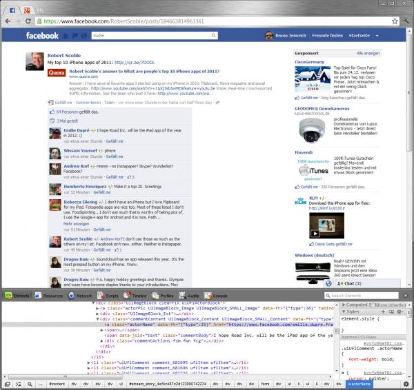 Reverse-Engineering von Facebook-Seiten mit der Element-Untersuchen Funktion von Chrome