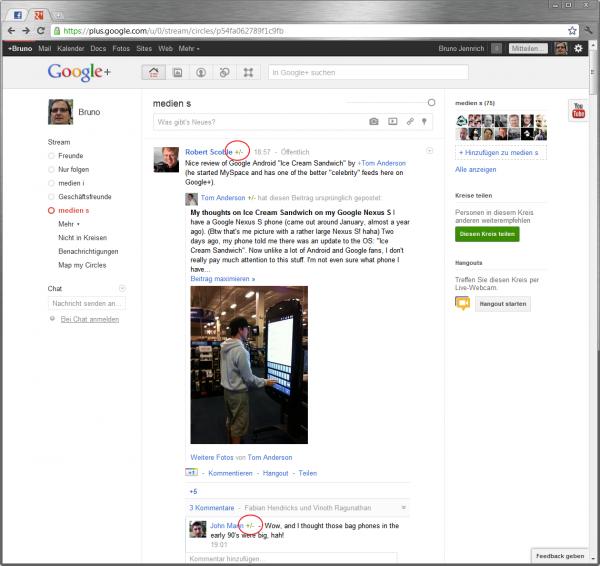 Die Klassifikationslemente in Google+