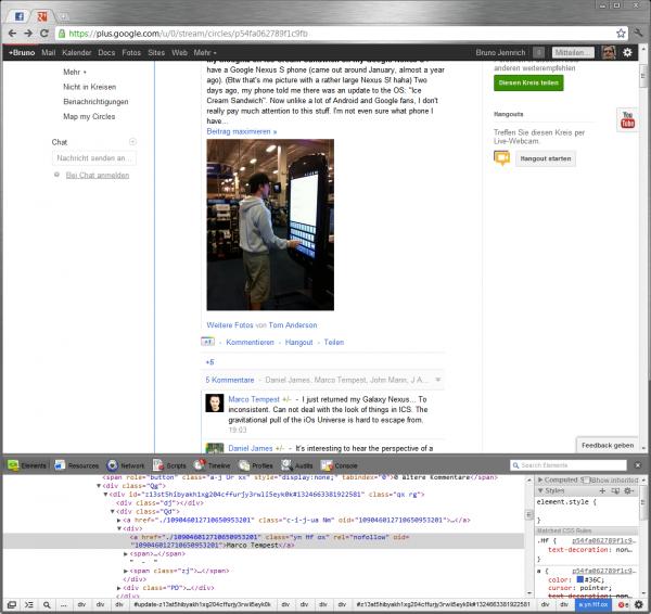 Reverse-Engineering von Google+-Seiten mit der Element-Untersuchen Funktion von Chrome