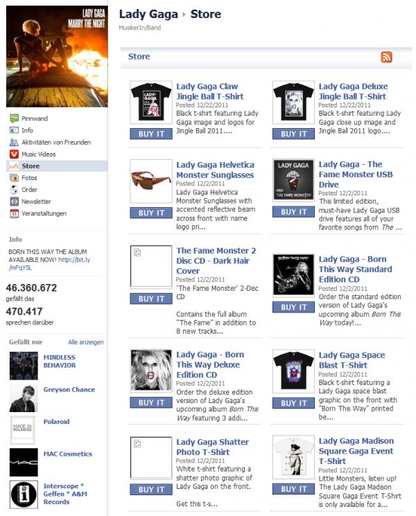 Facebook Shop von Lady Gaga