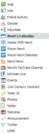 Newt Gingrich's Facebook Apps