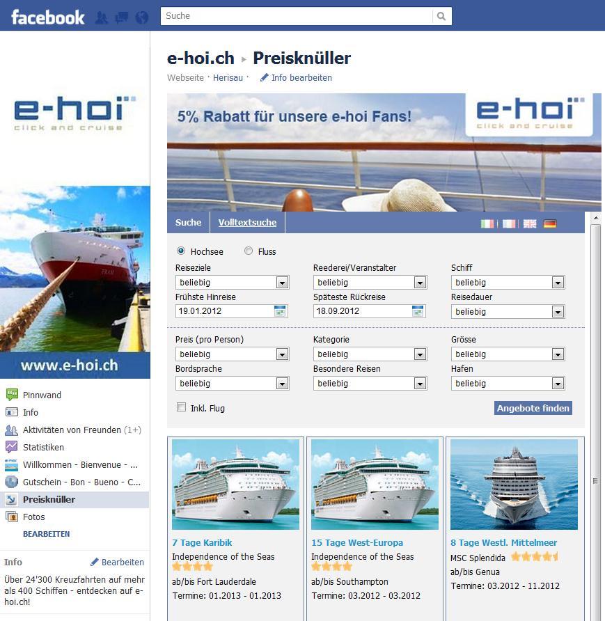 Preisknüller vom Kreuzfahrtspezialisten e-hoi