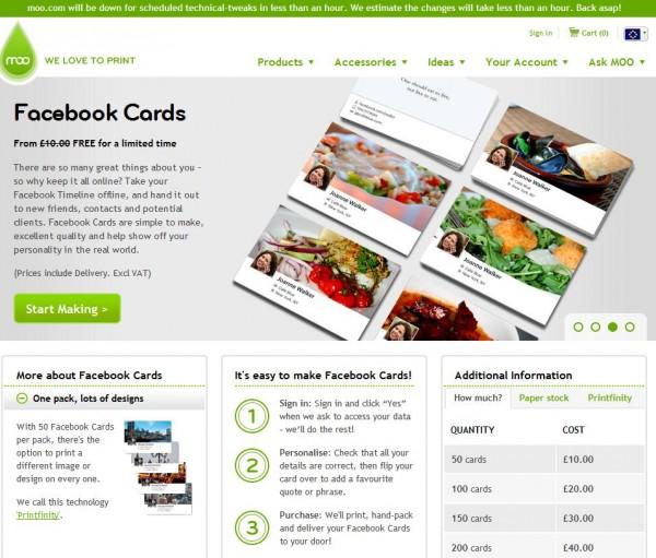 moo.com - kostenlose Visitenkarten im Timeline-Design