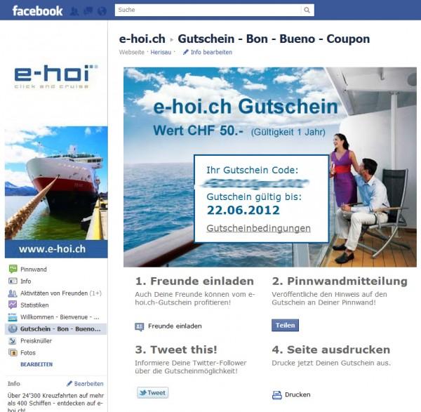 Beispiel einer Gutschein-Aktion bei e-hoi.ch