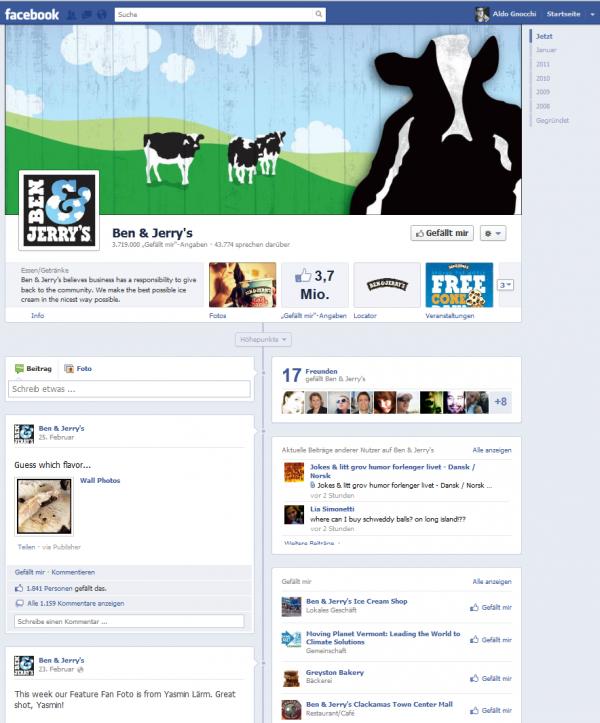 Ben & Jerry's Facebook-Seite