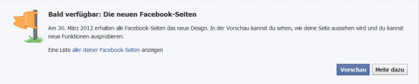 Hinweis auf neues Facebook-Seiten Design